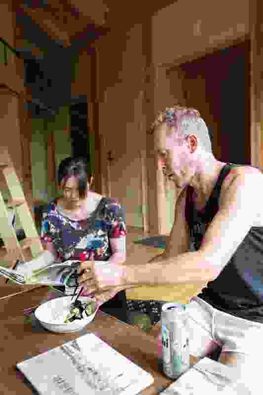 Artist Andy Rewald and friend Lisa in the Australia House atelier.