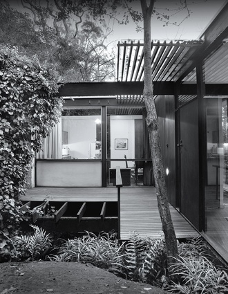 Influenced by Frank Lloyd Wright and the craftsmanship of traditional Japanese architecture, the house has been designed to harmonize with the landscape.