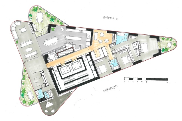 Proposed floor plan of the Magic Tower by Decibel Architecture.