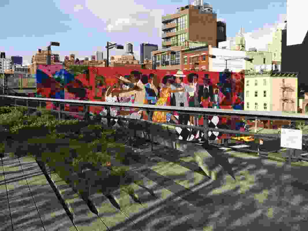 Billboard turned mural wall in Chelsea District curated by Friends of the High Line.