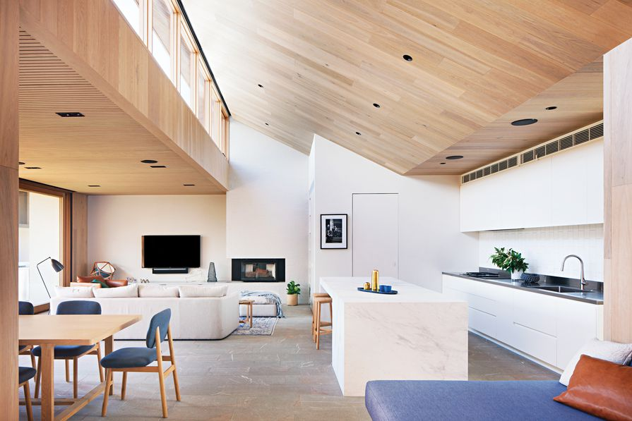 """The clerestory windows, accommodated by the gable roof form, bring in """"a world of light."""""""