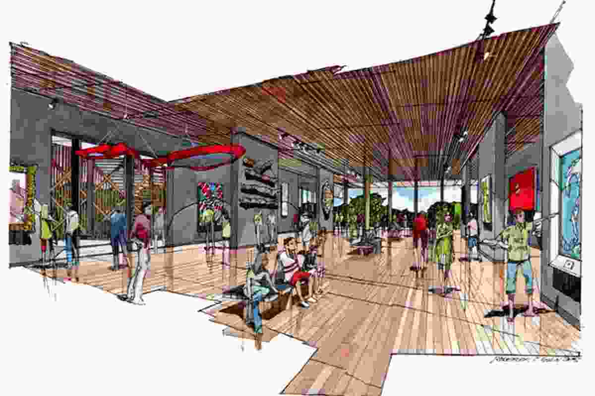 The art gallery design for the Chan Building site unveiled in 2015 by DKJ Projects Architecture and Fender Katsalidis Mirams.