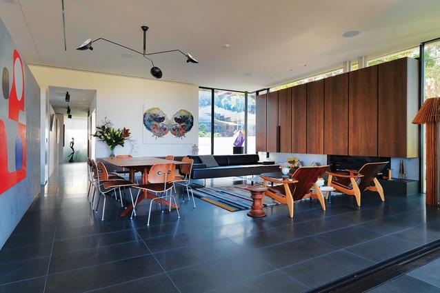 Formal living space. Artwork: Ben Quilty; Gemma Smith (sculpture).