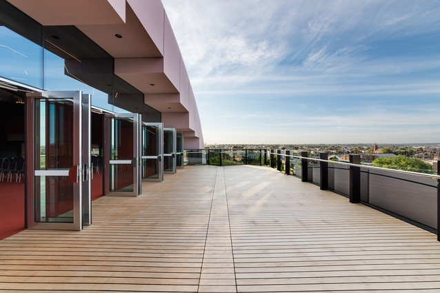 View from function room deck in the Geelong Library and Heritage Centre by ARM Architecture.
