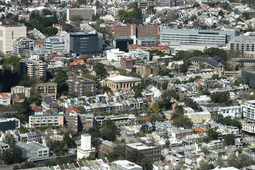 An aerial view of the suburb of Darlinghurst, Sydney.
