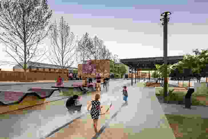 """One of five """"interpretive"""" rail lines, the Water Line references the history of smoke, steam engines and the movement of trains on the site through a """"mist-scape"""" and integrated lighting."""