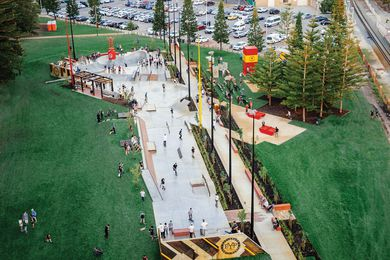 The Convic-designed Esplanade Youth Plaza is set between giant stands of Araucaria at Fremantle's Esplanade Park.