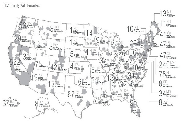 United States: abortion providers per state and county; grey areas are counties with providers.