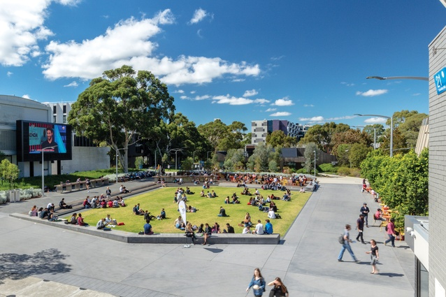 Designed by TCL and MGS Architects, Monash Clayton's Northern Plaza functions as a student hub and dynamic setting for a wide range of campus activities