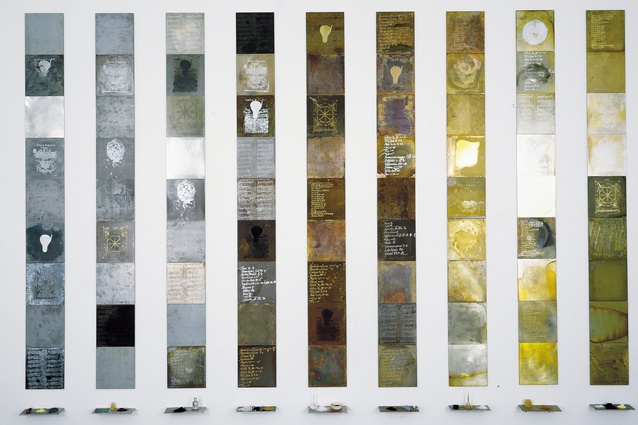 Janet Laurence, <i> Solids by Weight, Liquids by Measure </i> (alchemical plates from the Periodic Tableseries), 1993.