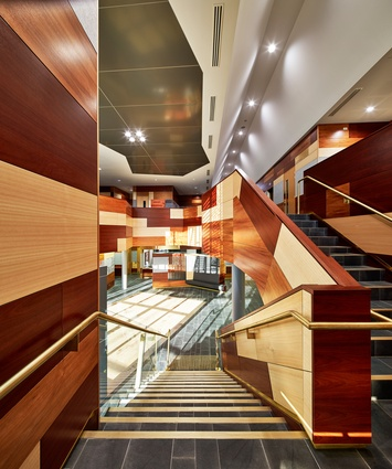 Timber panels in jarrah, Tasmanian ash and blackwood line the interior.