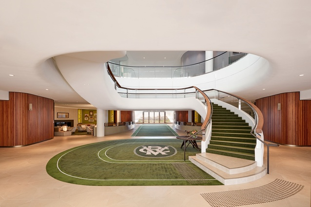 The central stair inside the Victorian Racing Club's new club stand by Bates Smart.