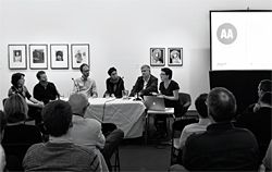 Overview of the panel: Lindy Johnson, Andrew Nimmo, Marcus Trimble, Naomi Stead, John Macarthur and Justine Clark. Image: Peter Bennetts