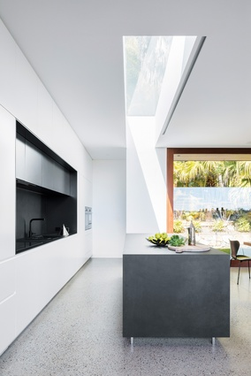 Every space in the H House opens to the garden, a connection made all the more seamless thanks to sliding doors, which retract into the walls.