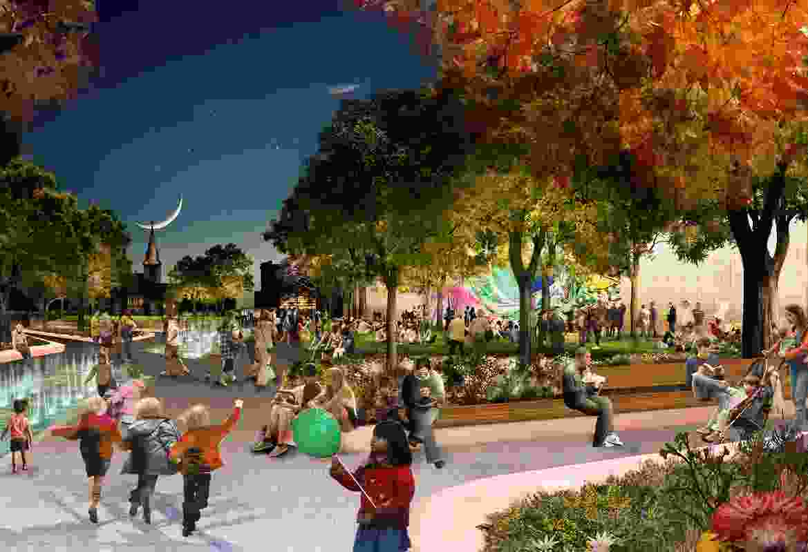 Parramatta Square draft concept design by JMD Design, Taylor Cullity Lethlean, Tonkin Zulaikha Greer, and Gehl Architects. At night, the water feature will be animated with light projections.