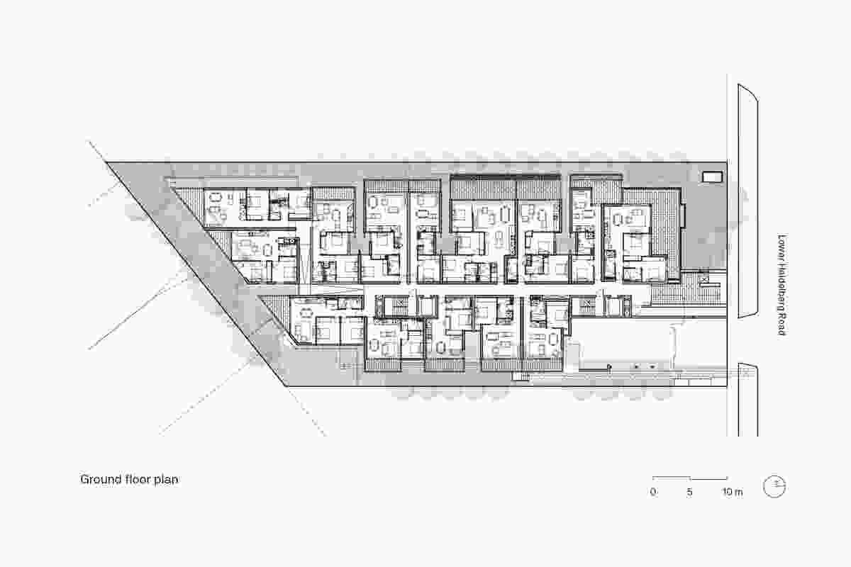 Ground floor plan of Cirqua Apartments by BKK Architects.