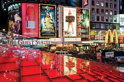 """N°5 The """"theatre"""" of Times Square. The new seating/steps are lit from below."""