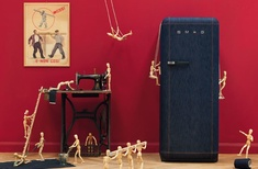 FAB28 denim refrigerator from Smeg