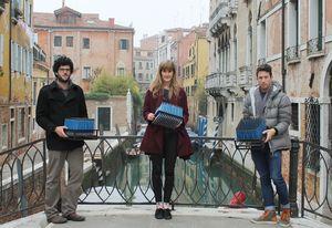Ben Kazacos, Phoebe Baker-Gabb and Brock Hogan each hold a Mark – an interactive pad of pencils.
