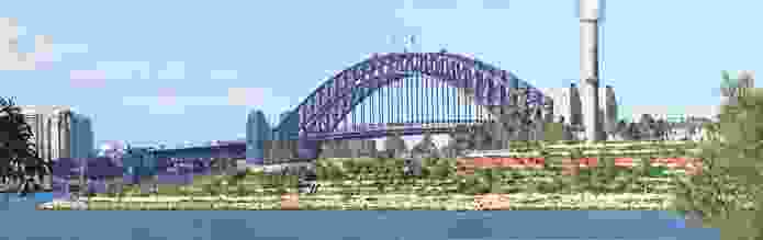 Barangaroo Reserve is visually connected to landmarks including Sydney Harbour Bridge.