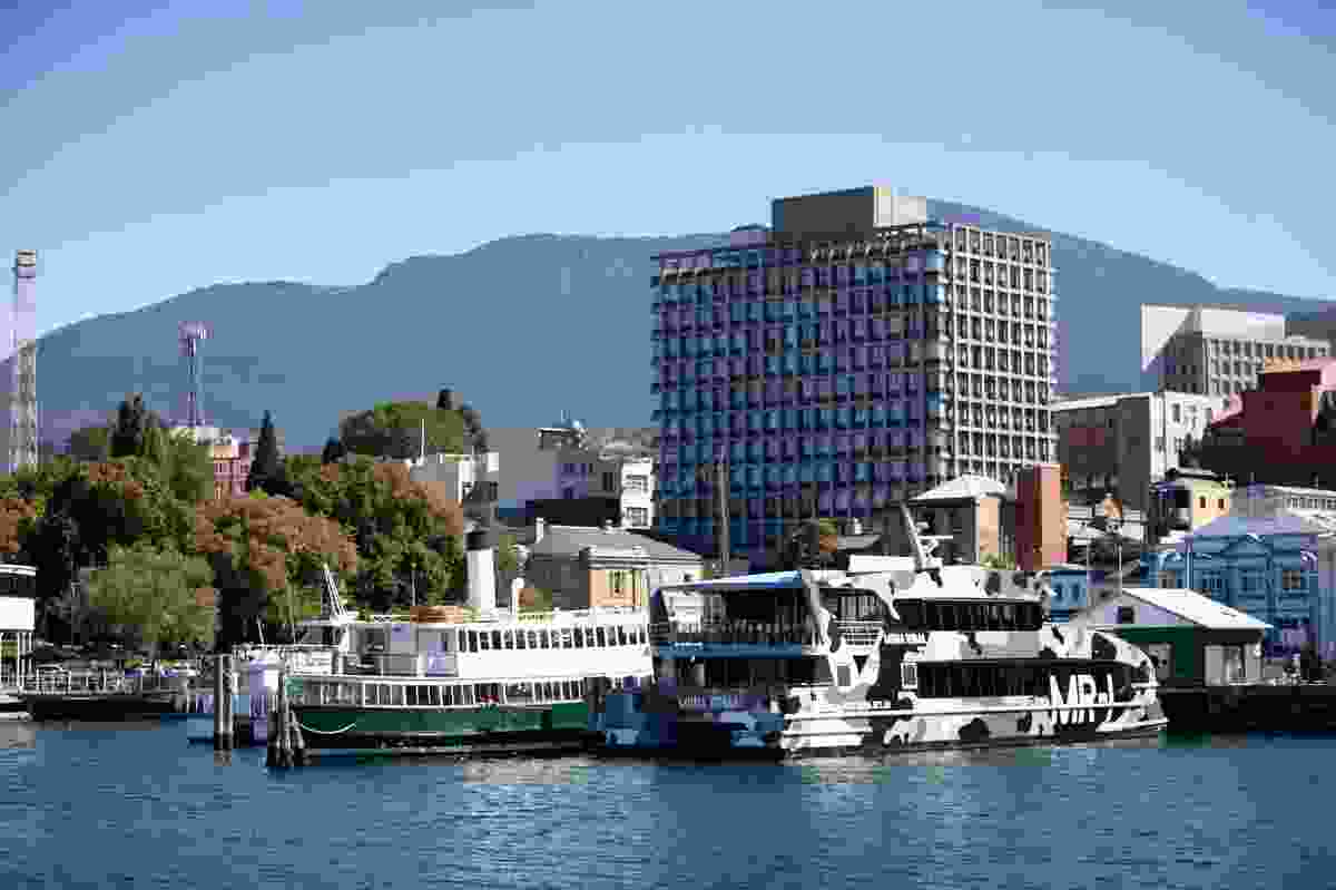 Old and new afloat: MONA Roma 1 docked in Hobart.