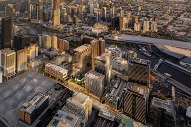 The Melbourne Quarter development. Of the three towers at the centre of the image, Two Melbourne Quarter by Woods Bagot is closest to the river.