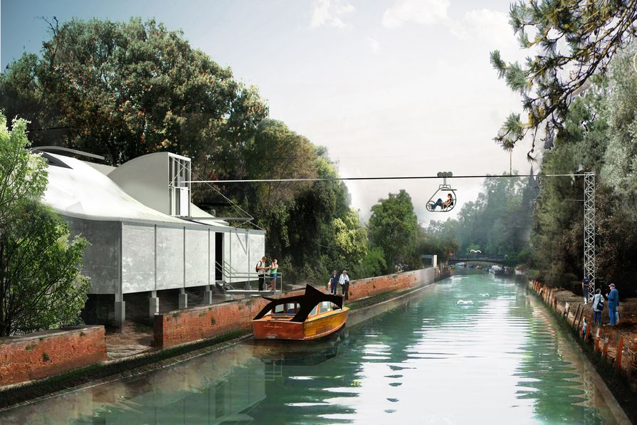 A water-taxi ride around the Giardini. Exhibitor team: Richard Goodwin