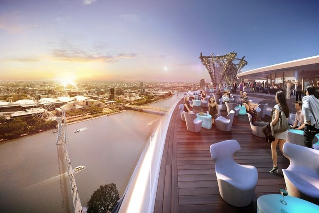 The sky deck in the proposed Queens Wharf Brisbane casino resort masterplanned by Jerde Partnership.