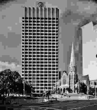 Suncorp Plaza tower by Conrad Gargett. Constructed in 1972, the building was the tallest in Brisbane at the time.