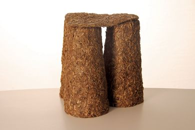 Dale Hardiman, Kids Straw Stool, a biodegradable design made from pea straw.