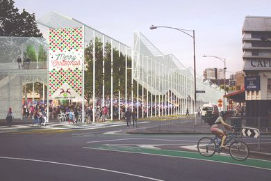 Breathe Architecture's proposed elevated greenhouse at Queen Victoria Market.