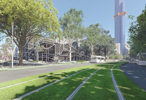Render of the currently under-construction road to park conversion taking place on Southbank Boulevard by the City of Melbourne's City Design Studio, featuring the under-construction Australia 108 building by Fender Katsalidis Architects.