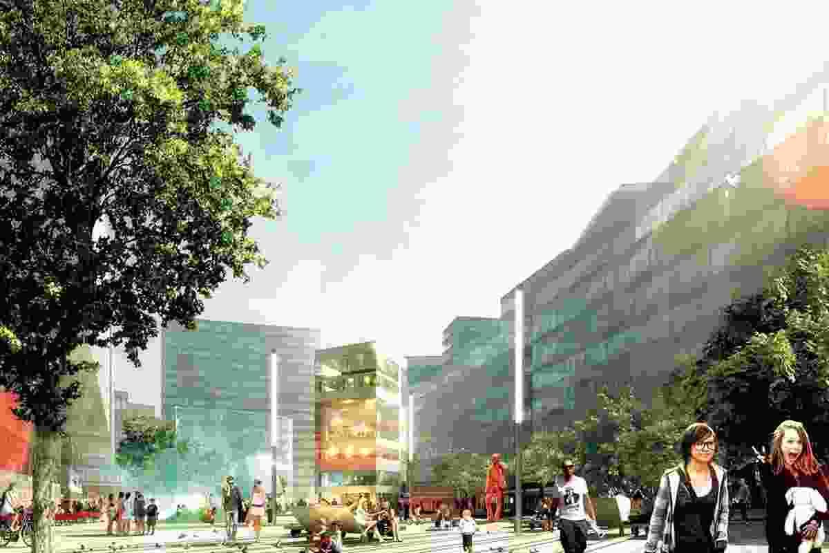 View west across Plaza from the Stewart Hollenstein + Colin Stewart Architects scheme.