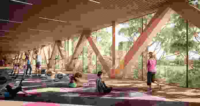 The gymnasium for Parramatta Aquatic Centre by Grimshaw, Andrew Burges Architects and McGregor Coxall will be housed in a separate building that will act as buffer against the nearby road and railway.