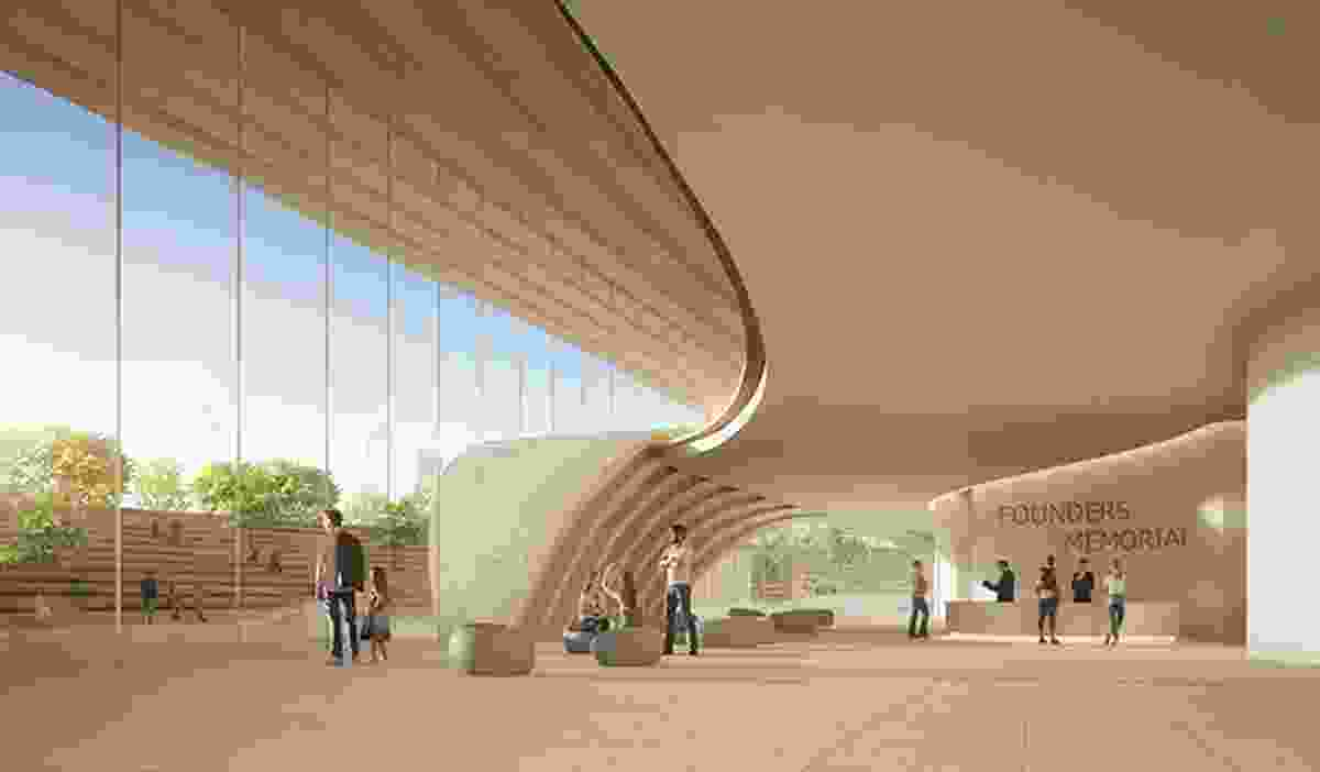 The visitor centre lobby of the winning proposal for Singapore Founders Memorial by Kengo Kuma and Associates and K2LD Architects.