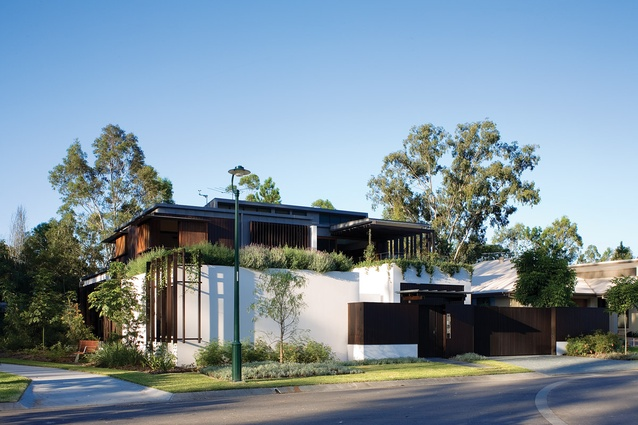 """Samford House (2008): This highly crafted house combines refined hand-trowlled polished plaster walls with more """"rough-and-ready"""" materials such as recycled ironbark."""