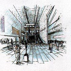 Revised sketch design for the NGA redevelopment. Sketches by Neil Mackenzie, Tonkin Zulaikha Greer.