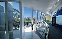 Looking along the circulation space, in which the building gradually opens up to the views.
