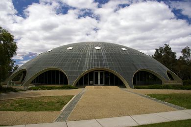 The Shine Dome (formerly Becker House) at the Australian Academy of Science, designed by Roy Grounds and completed in 1959.