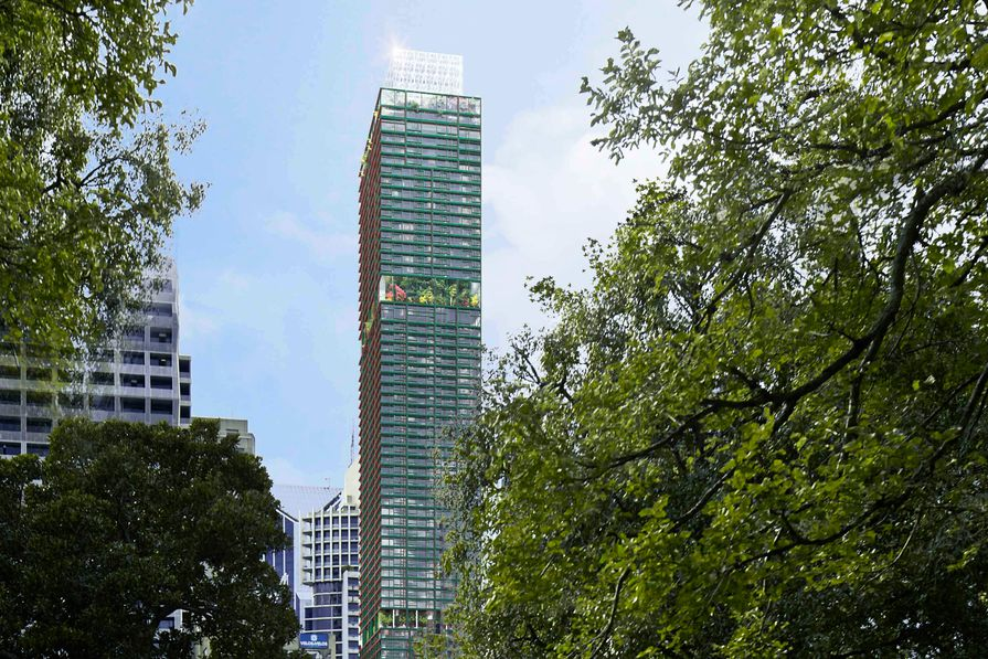 The mixed-use tower at 383 Latrobe Street designed by Ateliers Jean Nouvel.