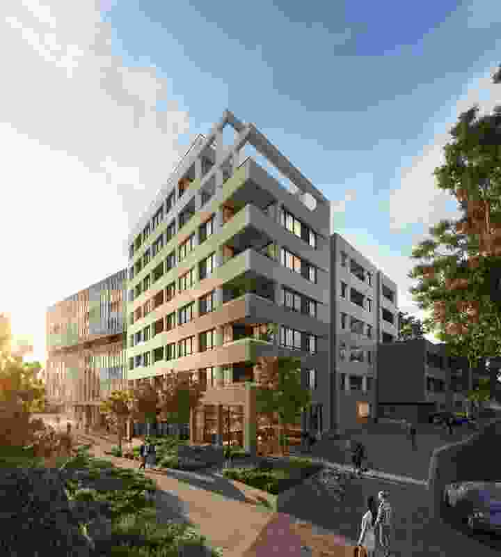 A nine-story mixed-use development in Glen Iris designed by Plus Architecture with interiors by Hecker Guthrie.