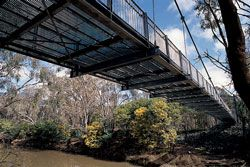 Goulburn River pedestrian and cycle bridge, by Urban Initiatives and Sinclair Knight Merz, in Victoria Park Lake, the municipality's primary open space.