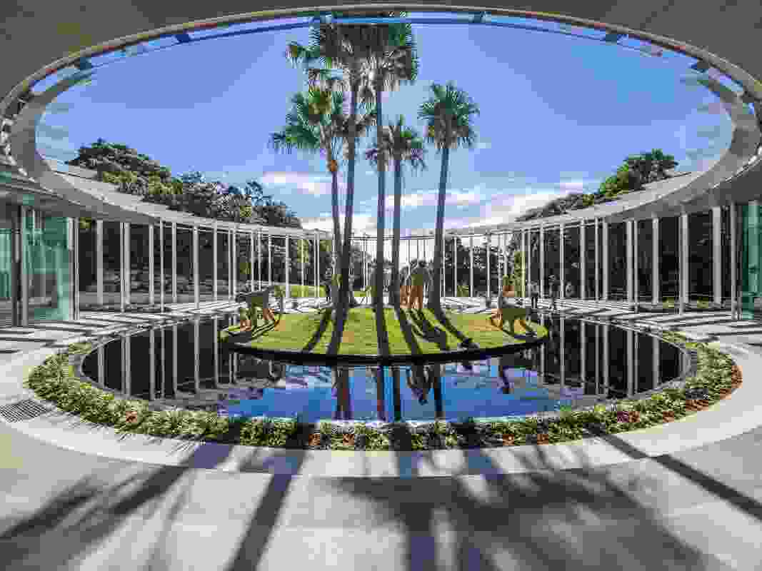 """The new Calyx structure designed by PTW Architects and McGregor Coxall in the Royal Botanic Gardens Sydney features an """"Iris"""" podium in the centre."""