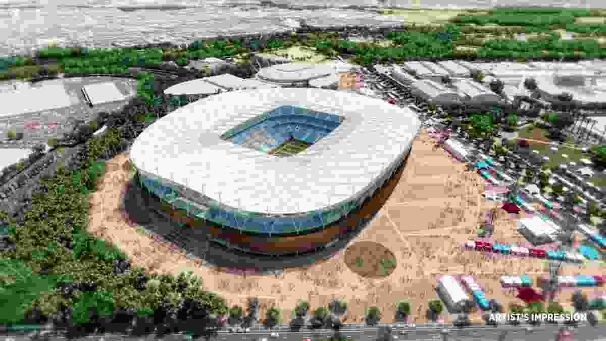 A screenshot of the proposed stadium at Sydney Olympic Park from the NSW government's stadia announcement.