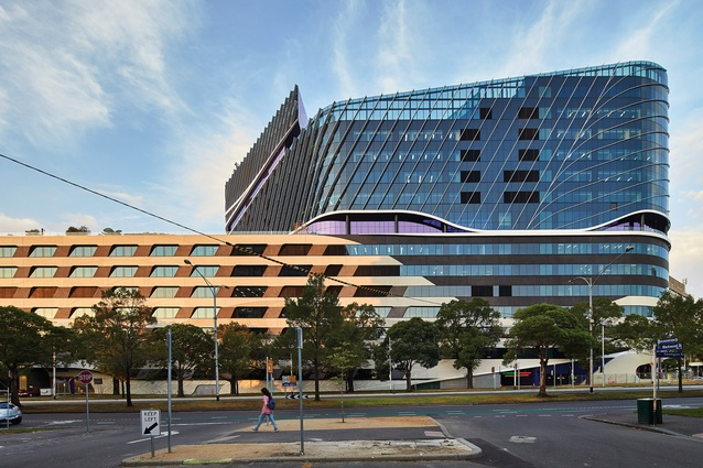 The Flemington Road elevation of the VCCC establishes an important urban vista on a site that was previously fragmented.