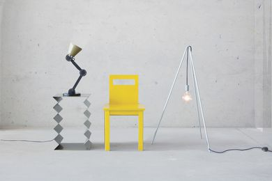 Designs by Page Thirty Three are artful and functional as seen here in the Zig Zag sculpture, Protractor Lamp, Ugly Chair and Tipi Lamp.