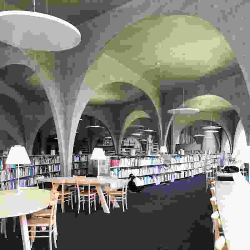 Interior of Tama Art University Library by Toyo Ito and Associates.