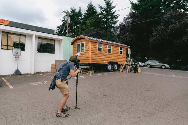 Melbourne filmmaker Jeremy Beasley filming <i>Small is Beautiful</i> in Portland, Oregon.