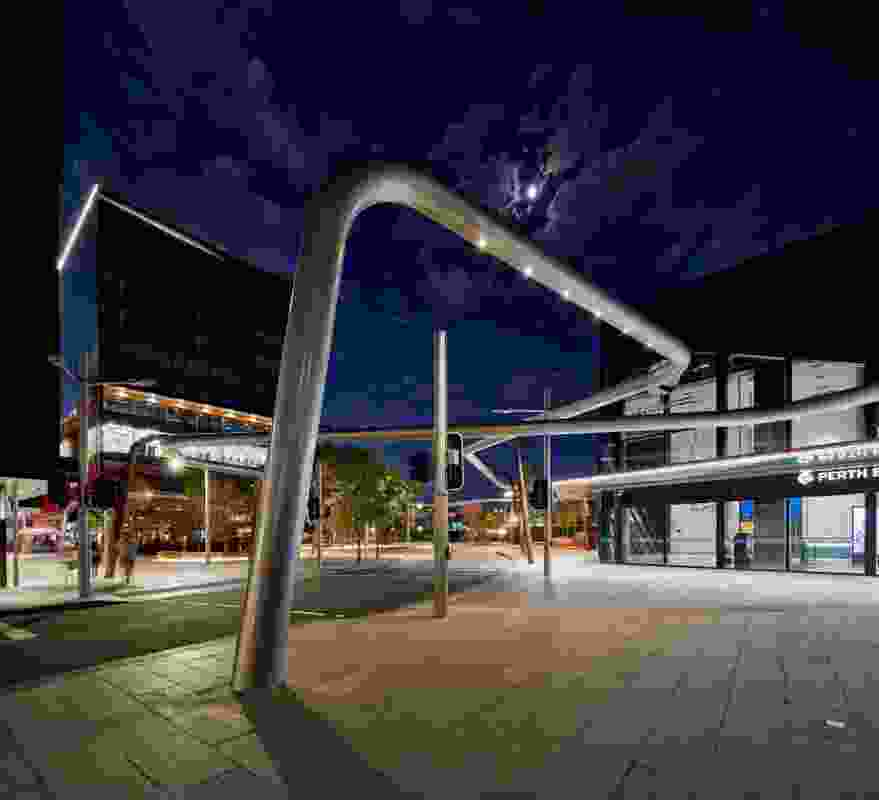 Iredale Pedersen Hook Architects with Lyons Architects and PlanE were named winners in the Installations and Structures category for Manatj Park, part of the Perth City Link.