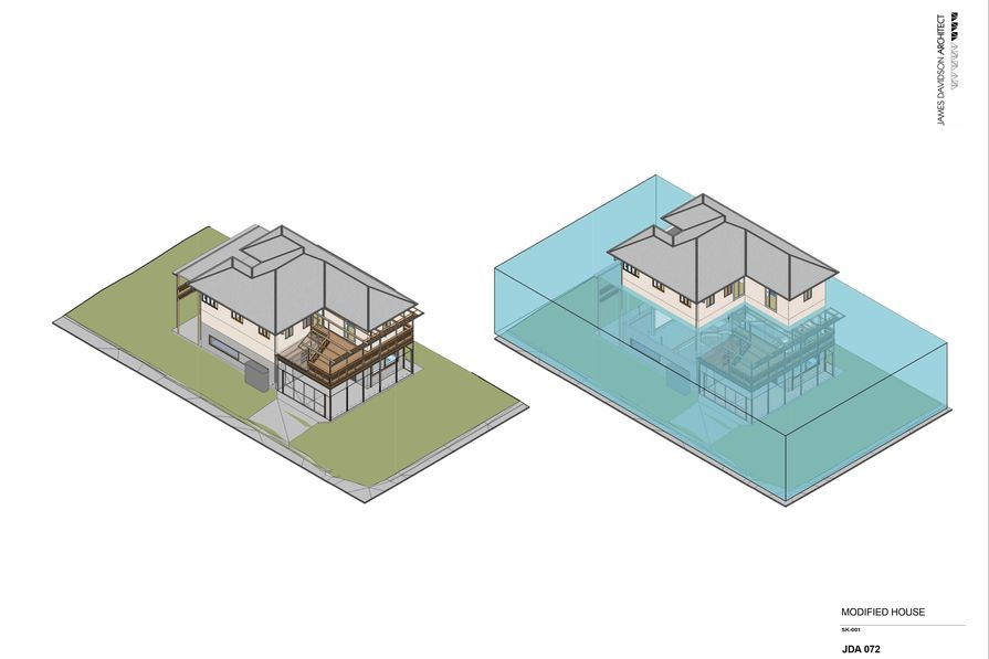 An illustration shows how Queenslander houses would float using the pontoon device.